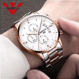Relógio Nibosi Super Luxo  Ref: 2309 Prata - Rose