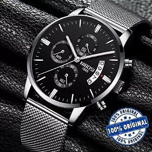 Relógio Nibosi Super Luxo  Ref: 2309 Preto e Preto Quartzo Pulseira Fina Esporte Casual