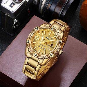 Relógio Masculino Dourado Original Naviforce Nf9117