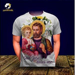 """Camiseta """"São José, valei-me!"""" Branca"""