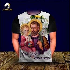 """Camiseta """"São José, valei-me!"""" Preta"""