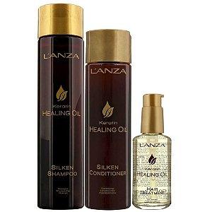 Kit Keratin Healing Oil Shampoo, Condicionador e Balm - Lanza