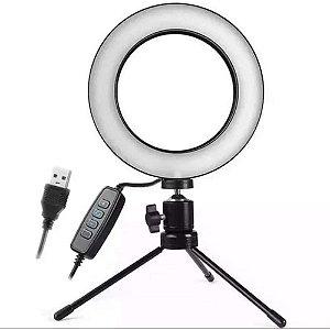Iluminadora Ring Light 16cm Diâmetro USB LED Misto Tripé