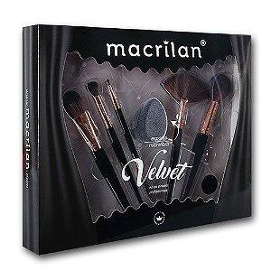 Kit Pincel Velvet Preto ED010A 7pçs - Macrilan