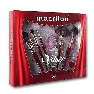 Kit Pincel Velvet Vermelho ED010B 7pçs - Macrilan