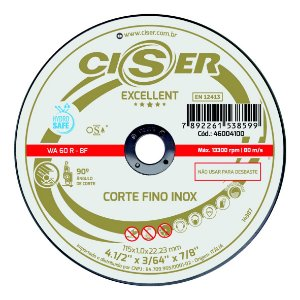 DISCO CORTE INOX CISER EXCELLENT 115(4.1/2)X1,0X22,2