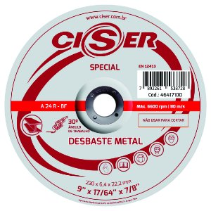 DISCO DESBASTE ACO CISER SPECIAL 230(9)X6,4X22,2