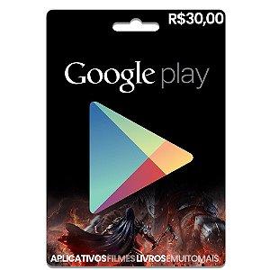 Cartão Google Play R$30 Reais - Pré-pago