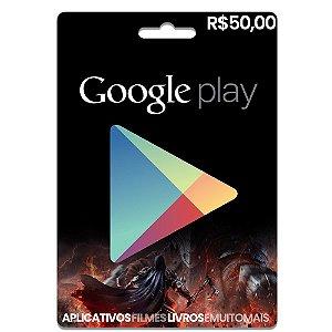 Cartão Google Play R$50 Reais - Pré-pago