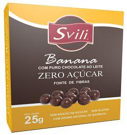 Drageado de Banana com Chocolate Zero Acucar 25g Svili