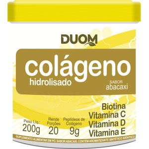 Colageno Hidrolisado com Vitaminas 200g Sabor Abacaxi