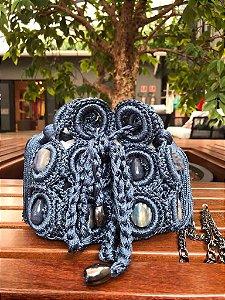 Bolsa Crochê Pequena Azul