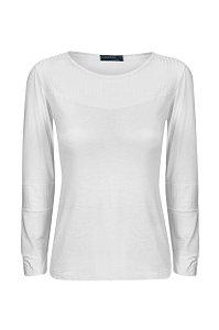 Blusa Recortes Canelado Off White