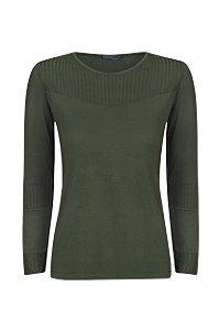 Blusa Recortes Canelado Verde Musgo