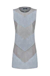 Vestido Recortes Chamois  Cinza