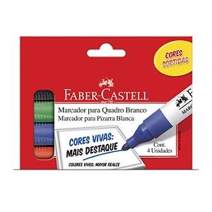 Pincel Marcador Quadro Branco Com 4 Cores OF522ZF - Faber Castell
