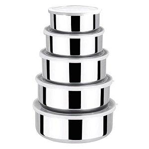 Conjunto Tigelas Potes Bowls Inox Tampa Plástica 5 Peças