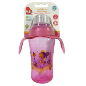 Copo Infantil Bebê Com Alça Mundo Macio Grande Rosa - Milla