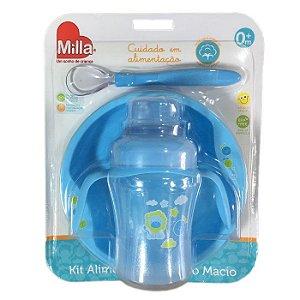 Kit Alimentação Infantil Bebê Mundo Macio Com 3 Peças Azul Menino - Milla