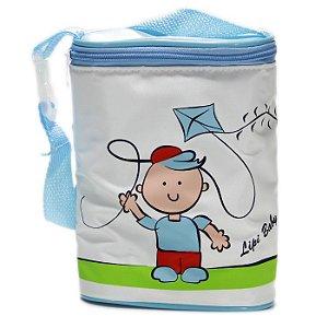 Porta Mamadeira Protetor Térmico Duplo Azul Menino Pipa