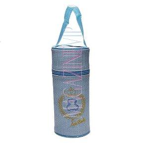 Porta Mamadeira Térmico Isopor Até 360 ml Unit Bordado Azul
