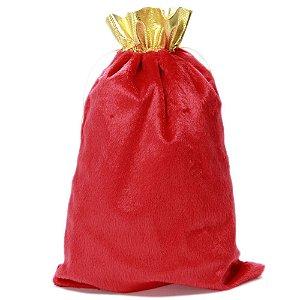 Saco De Presente Do Papai Noel em Veludo Vermelho e Dourado 40 x 30 cm AxL