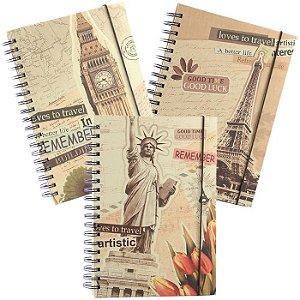 Caderno Espiral Universitário Vintage Capa Dura 160 Folhas Londres Paris New York