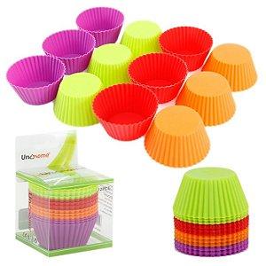 Forma Cupcake Muffim Bolo Redondo Em Silicone 12 Unidades