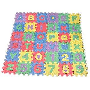 Tapete Infantil Educativo EVA Alfanumérico Alfabeto e Números A-Z e 0-9