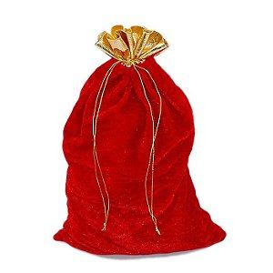 Saco De Presente Do Papai Noel em Veludo Vermelho e Dourado 22 x 30cm