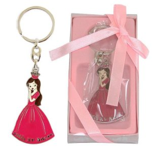 Lembrancinha Debutante 15 Anos Chaveiro Em Metal Princesa Vestido Rosa Escuro