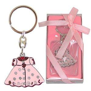 Lembrancinha Chá de Bebê Chaveiro Em Metal Vestido Rosa Baby Girl Menina