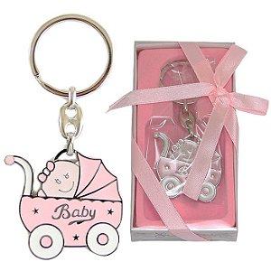 Lembrancinha Chá De Bebê Chaveiro Em Metal Carrinho De Bebê Rosa Baby Girl Menina
