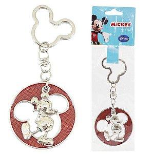 Chaveiro Disney Mickey Mouse Redondo Em Metal Vermelho