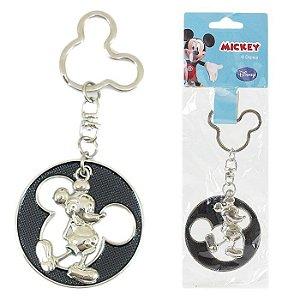 Chaveiro Disney Mickey Mouse Redondo Em Metal Preto