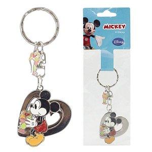 Chaveiro Disney Mickey Mouse Coração e Sorvete Em Metal