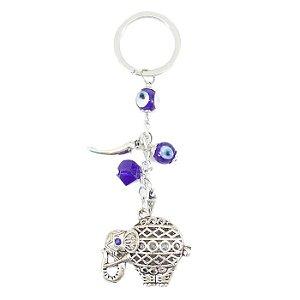 Chaveiro Amuleto Da Sorte e Proteção Elefante Olho Grego e Pimenta