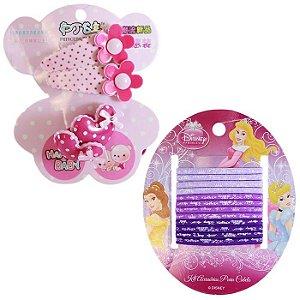Kit Acessórios Para Cabelo Presilha Tic Tac e 12 Elásticos Disney Princesas