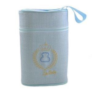 Porta Mamadeira Protetor Térmico Duplo Bordado Com Isopor Azul Menino