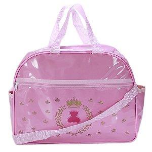 Bolsa Frasqueira Maternidade Mamãe e Bebê Média Em Vinil Lipi Baby Rosa Menina