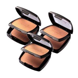 Pó Compacto Facial Jasmyne CR9917 - Estojo Com Esponja e Espelho