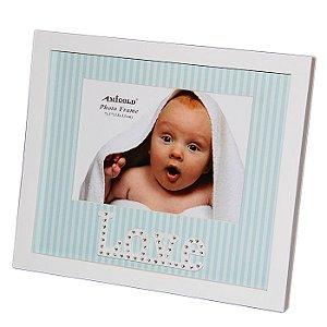 Porta Retrato Infantil Love Para Mesa e Parede 13 x 18 cm Azul Menino