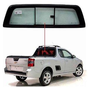 Vigia Liso Chevrolet Montana 09/... Vidro Traseiro Móvel Completo Pilkington
