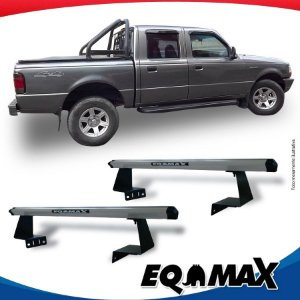 Rack Eqmax para Caçamba Ford Ranger Cabine Dupla 08/12 Aluminio Prata