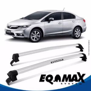 Rack Teto Eqmax New Wave Honda Civic 13/15 Bagageiro Prata
