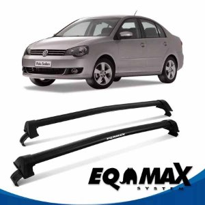 Rack Teto Eqmax New Wave Vw Polo 03/14 4pts Sedan Preto