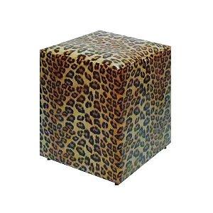 PUFF EM CORINO 34x34x42cm. (Leopardo)