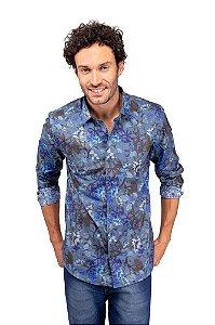 Camisa Tricoline Azul Clara Floral