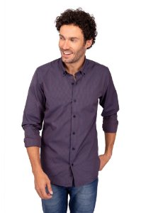 Camisa Botton Down Vinho e Azul