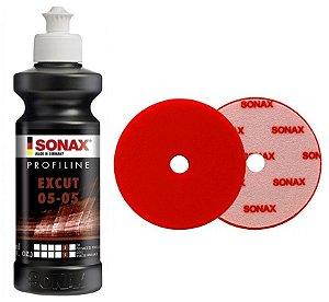 "Kit Sonax - ExCut 05-05 250ml + boina Corte Vermelha 165mm 6"""